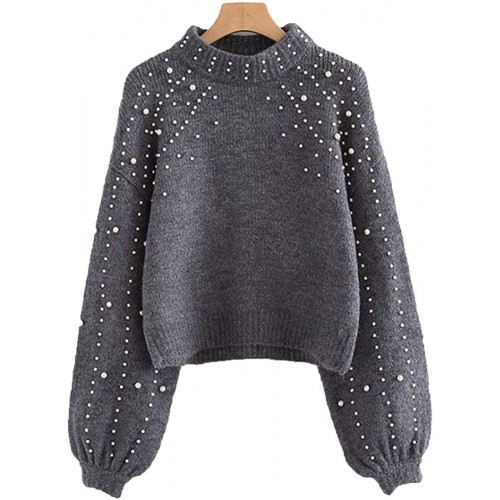Women's Elegant Pearl Beading High Neck Long Sleeve Knit Pullovers Sweater Top at Women's Clothing store