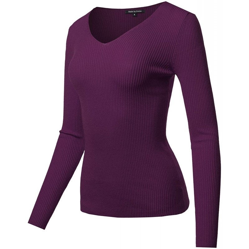 Women's Solid Basic Long Sleeve V Neck Classic Sweater at Women's Clothing store