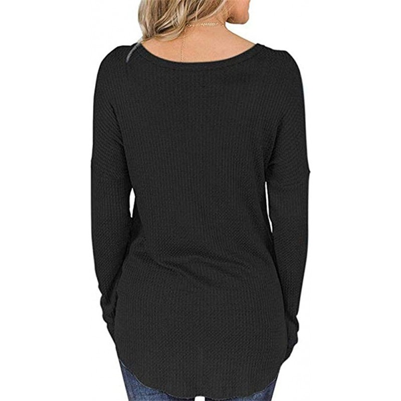 Women's V Neck Waffle Knit Henley Tops Casual Long Sleeve Pullover Sweater Blouses S-2XL at Women's Clothing store