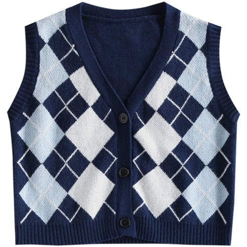ZAFUL Women's V-Neck Sweater Vest Sleeveless Houndstooth Pullover Knitted Sweater at  Women's Clothing store