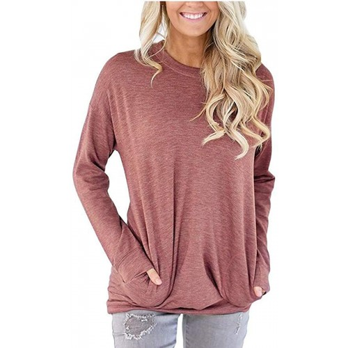 Blostirno Womens T-Shirt Casual Long Sleeve Pocket Pullover Sweatshirt Tunic Blouse Tops at  Women's Clothing store