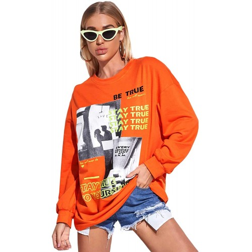 Floerns Women's Patterned Drop Shoulder Oversized Pullover Sweatshirt at  Women's Clothing store