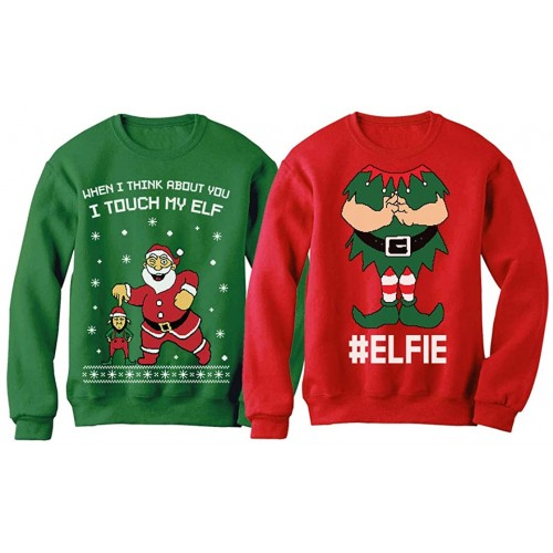 I Touch My Elf Elfie Ugly Christmas Sweater Sweatshirt Funny Matching Couple Set at Women's Clothing store