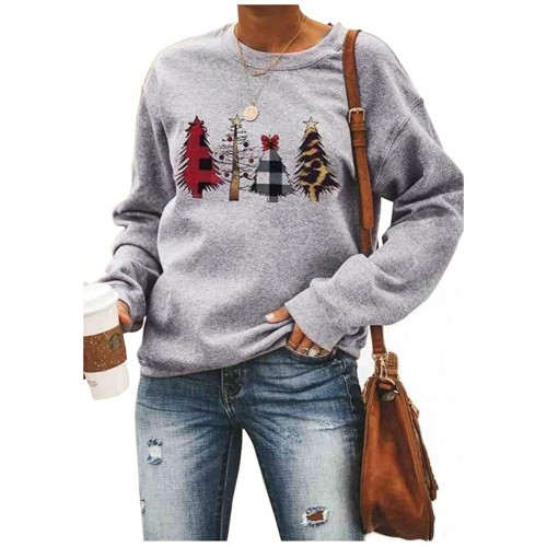 Women Christmas Trees Leopard Plaid Patchwork Print Baseball Sweatshirt Xmas Tree Graphic Blouse Long Sleeve Pullover at  Women's Clothing store