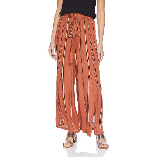 Angie Women's Tie Waist Wide Leg Pants with Front Slits Rust Small at  Women's Clothing store