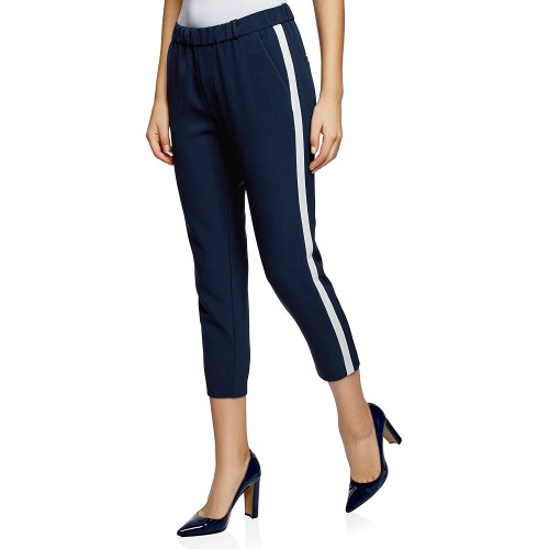 oodji Ultra Women's Elastic Waistband Trousers with Side Stripes at Women's Clothing store