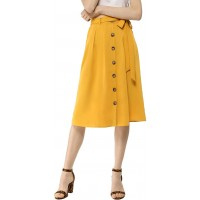 Allegra K Women's Button Front Casual High Waist Belted Midi Flare Skirt at  Women's Clothing store