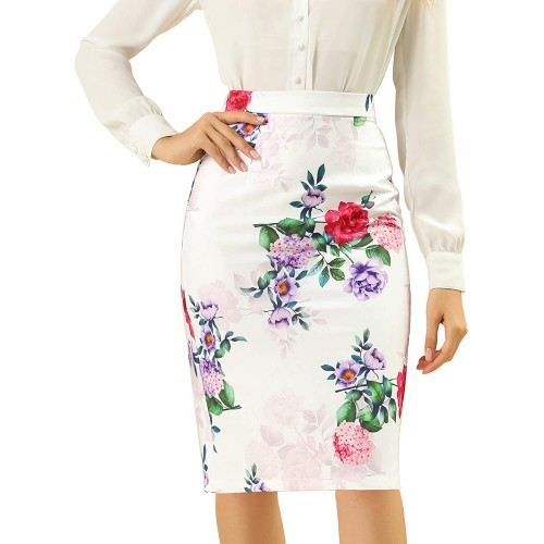 Allegra K Women's Floral Elastic Waistband Bodycon Pencil Skirt with Back Slit at  Women's Clothing store