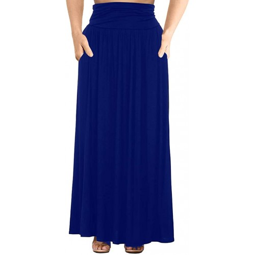 Allegrace Women's Plus Size Shirring High Waist Pleated Long Maxi Skirt with Pockets at  Women's Clothing store