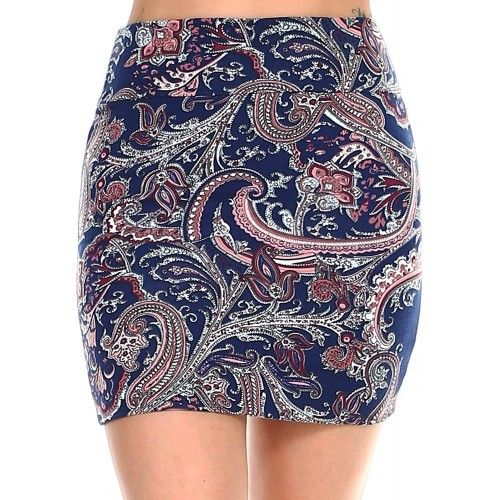Fashionazzle Women's Casual Stretchy Bodycon Pencil Printed Mini Skirt at Women's Clothing store
