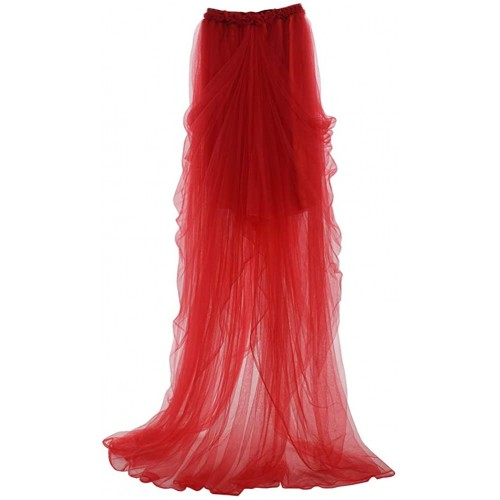 GRACEART Steampunk Layered Bridal Skirt Wedding Tulle Tutu Bright red Bright red Lining
