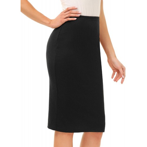 Kate Kasin Women's Knee Length Stretchy Ribbed Skirt for Office Work Hips-Wrapped Skirts