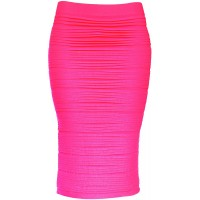 KMystic Strapless Tube Dress and Pencil Midi Bodycon Skirt in One Neon Pink