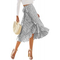 ReneeCho Womens Midi Skirt Wrap Boho Ditsy Floral Knot High Waisted Split Summer Casual Slit Skirts at  Women's Clothing store