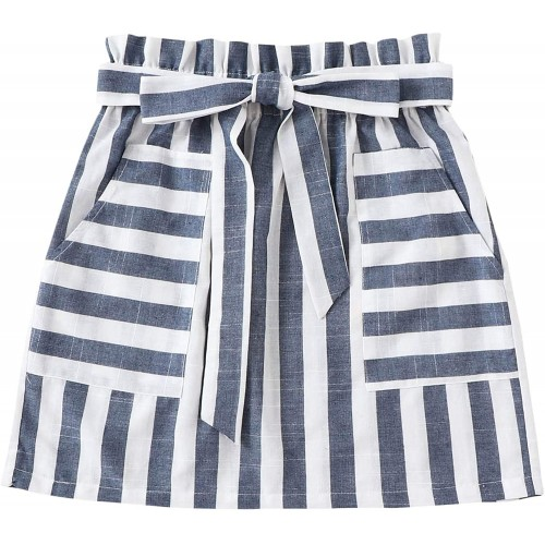 SOLY HUX Women's Striped Paperbag High Waist Pocket A Line Belted Skirt at  Women's Clothing store