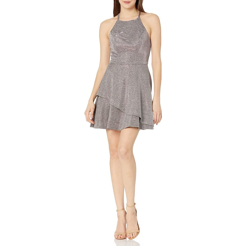 Speechless Women's Junior's Teen Fit & Flare Dress with Layered Skirt at Women's Clothing store