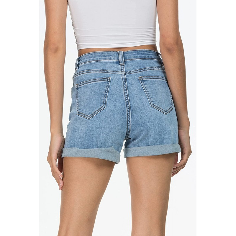 Denim Shorts for Women High Waisted Comfy Stretchy Ripped Jean Shorts 0 Light Blue # 1 at Women's Clothing store