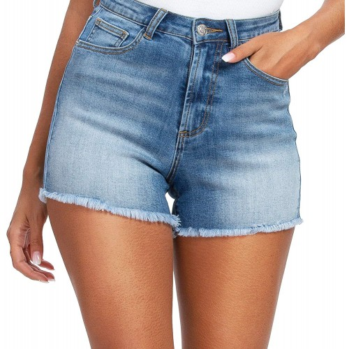 Denim Shorts for Women High Waisted Comfy Stretchy Ripped Jean Shorts 14 Light Blue # 3 at  Women's Clothing store