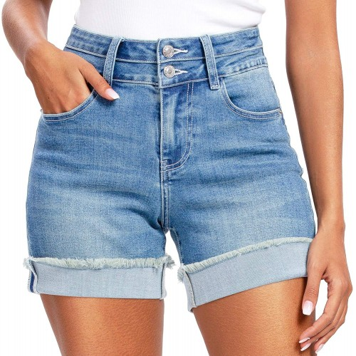 Denim Shorts for Women High Waisted Comfy Stretchy Ripped Jean Shorts 16 Light Blue # 2 at  Women's Clothing store