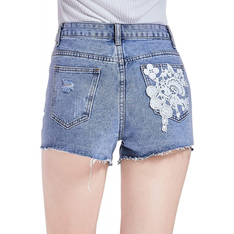 Frayed Hem Denim Shorts for Women Casual Summer Mid Waist Hot Pants with 2 Lace Out-Exposed Pockets at Women's Clothing store