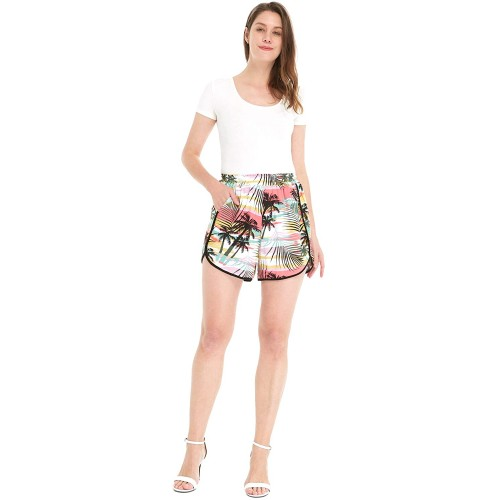 Hawaii Hangover Women Elastic Waist Shorts with Pockets in Sunset at  Women's Clothing store