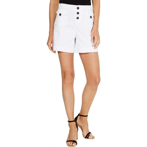 INC International Concepts Women's High Waisted Utility Button Up Shorts Bright White 12 at  Women's Clothing store