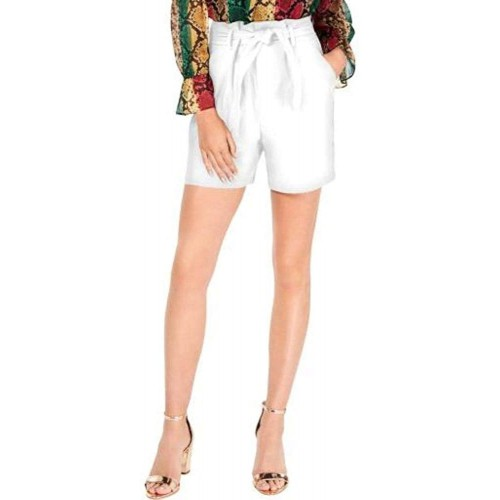 I.N.C Womens High Rise Belted Shorts White Size 8 at  Women's Clothing store