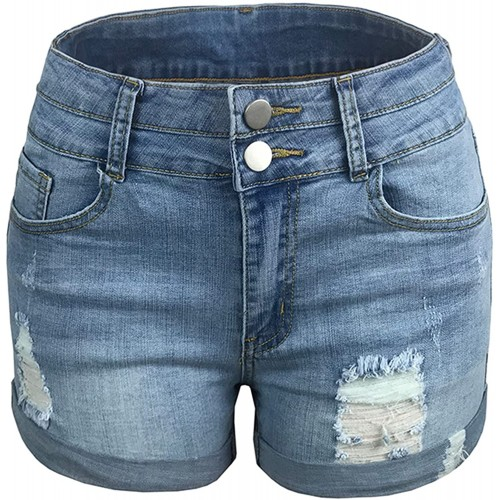 Lu's Chic Women's Jeans Shorts Denim High Waisted Distressed Ripped Frayed Hole Button Zipper at  Women's Clothing store