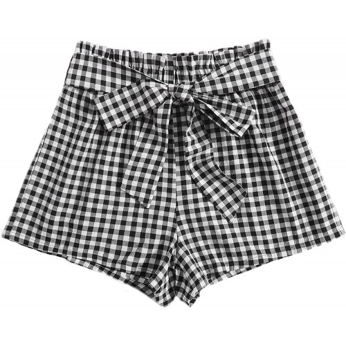 MakeMeChic Women's Plaid Print Belted Paperbag Waist Shorts Casual Wide Leg Shorts at  Women's Clothing store