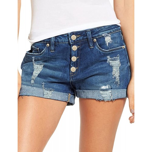 Mcloyoe Women's Mid Rise Stretchy Rolled Hem Denim Jean Shorts with Pockets at Women's Clothing store