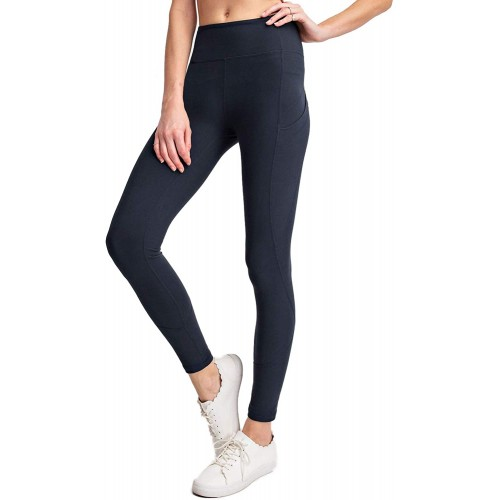 Berrypublic Full Length Wide Waist Band Yoga Pants with Side Pocket Workout Stretch Sports Leggings at  Women's Clothing store