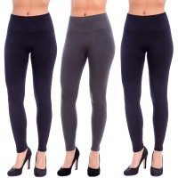 Body Beautiful Women's 1 or 3 Pack Seamless Slimming Hi-Waist Stretchy Microfiber Ankle Leggings Large X-Large 3 Pack 2 Black 1 Grey at  Women's Clothing store