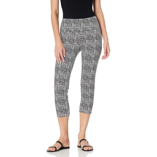 SLIM-SATION Women's Wide Band Pull on Print Ponte Knit Crop Leggings at  Women's Clothing store
