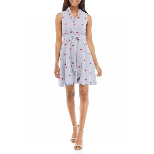 Crown & Ivy™ Women's Scallop Neck Embroidered Dress