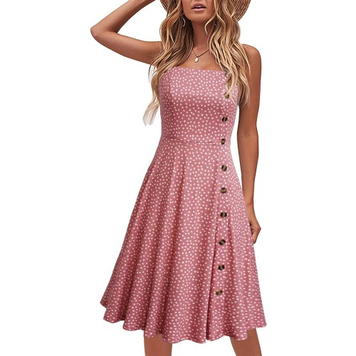 Lyrur Casual Summer Beach Knee Length Flowy A-Line Spaghetti Straps Solid Cotton Button Down Women Sundresses at Women's Clothing store