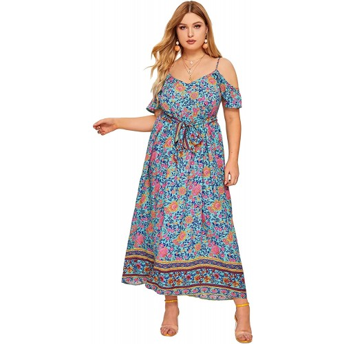 Milumia Women Plus Size Cold Shoulder Fit and Flare Bohemian Casual Maxi Dress at Women's Clothing store