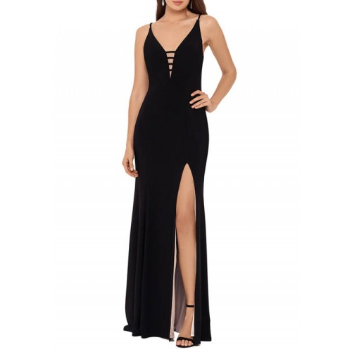 Xscape Women's Sleeveless Solid Sheath Gown with Slit