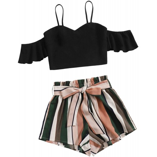 SweatyRocks Women's 2 Piece Outfits Ruffle Cold Shoulder Crop Top and Shorts Set