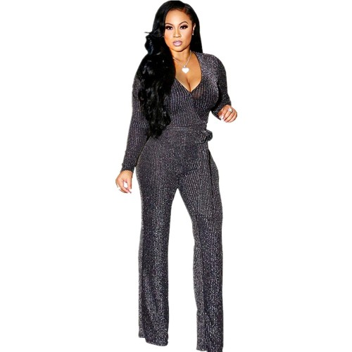 YYJN Sparkly Wide Leg Jumpsuits for Women Elegant Sexy Plus Size Long Sleeve Casual Glitter Rompers Pants Clubwear