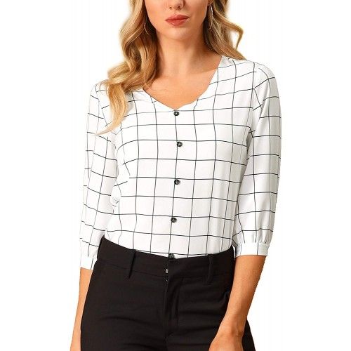 Allegra K Women's Check Shirt V Neck 3 4 Sleeve Plaid Spring Casual Tops Blouses at  Women's Clothing store