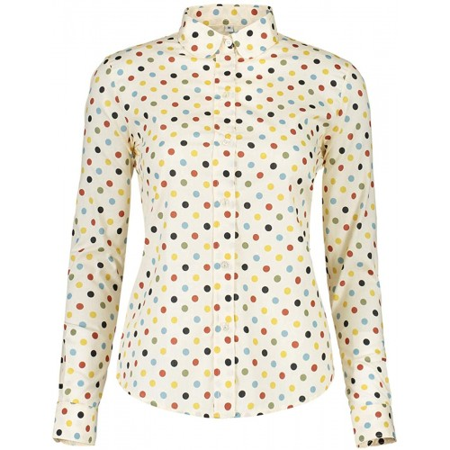 ERZTIAY Women's Tops Feminine Long Sleeve Polka Dotted Button Down Casual Dress Blouses Shirts at Women's Clothing store