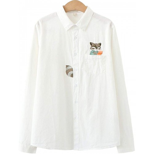 LISDINE Women's Classic Fit Long Sleeve Squirrel Embroidery Button Down Shirt at Women's Clothing store