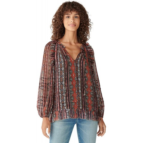 Lucky Brand Women's Long Sleeve Chiffon Printed Peasant Top at Women's Clothing store
