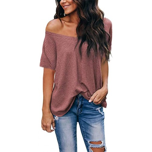 LuckyMore Off The Shoulder Tops for Women V Neck Short Sleeve Waffle Knit Shirts Loose Summer Blouses