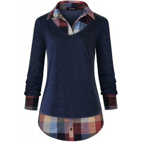 Oyamiki Women's Classic Collar Curved Hem 2 in 1 Knit Pullover Plaid Contrast T-Shirt Top at Women's Clothing store