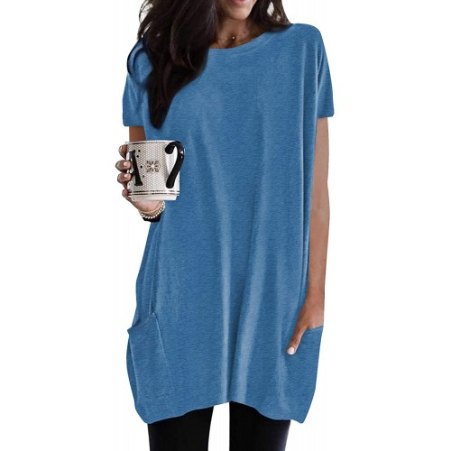 ThusFur Womens Summer Short Sleeve Long Tunic Tops Casual Loose Crewneck Shirts for Leggings with Pockets
