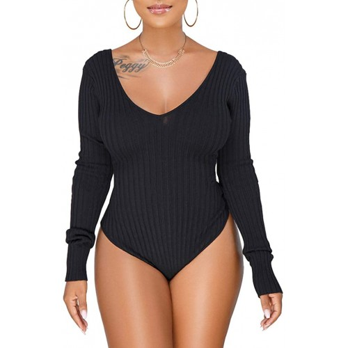Long Sleeve Bodysuit Women Ruched High Waist Bodycon Jumpsuits Tops