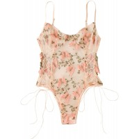 MakeMeChic Women's Sexy Butterfly Embroidered Lace Up Mesh Teddy Cami Bodysuit at  Women's Clothing store