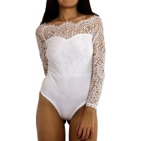 Off Shoulder Lace Bodysuit with Long Sleeves at  Women's Clothing store