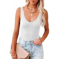 REORIA Women's Sexy Scoop Neck Sleeveless Knit Ribbed Tank Top Bodysuits